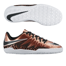 Nike Youth Hypervenom Phelon II Indoor Soccer Shoes (Metallic Red Bronze/Green Glow/Black)