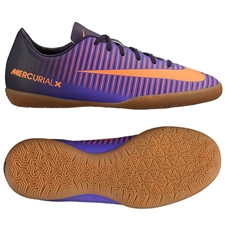 Nike Youth Mercurial Vapor XI Indoor Soccer Shoes (Purple Dynasty/Bright Crimson/Hyper Grape)