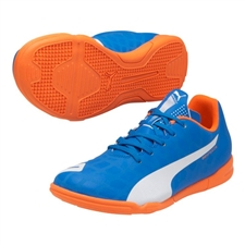 Puma EvoSpeed 5.4 Youth IT Indoor Soccer Shoes (Electric Blue Lemonade/White/Orange Clown Fish)