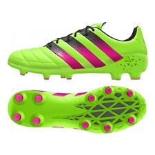 Adidas ACE 16.1 FG/AG (Leather) Soccer Cleats (Solar Green/Shock Pink/Black) | Adidas Soccer Cleats |FREE SHIPPING| Adidas AF5083 | SoccerCorner.com