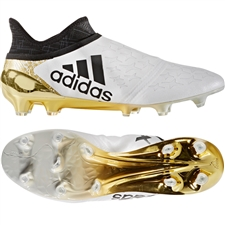 Adidas X 16+ Purechaos FG Soccer Cleats (White/Black/Gold Metallic)