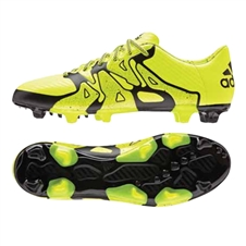 Adidas X 15.3 FG Soccer Cleats (Solar Yellow/Black/Frozen Yellow)