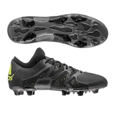 Adidas X 15.1 FG/AG Soccer Cleats (Black/Solar Yellow/Night Metallic)