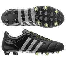 Adidas ACE 15.1 (Leather) FG/AG Soccer Cleats (Black/Metallic Silver/Solar Yellow)