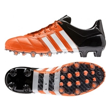 Adidas ACE 15.1 FG/AG (Leather) Soccer Cleats (Solar Orange/White/Black)