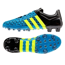 Adidas ACE 15.1 FG/AG Soccer Cleats (Solar Blue/Solar Yellow/Black)