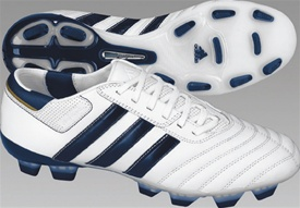 Adidas AdiPURE III TRX Firm Ground Soccer Shoes (White/Blue/Gold)