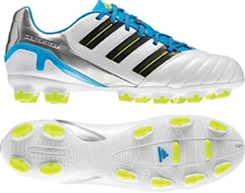 Adidas Predator Absolion TRX FG Soccer Cleats (Predator Running White/Black/Predator Sharp Blue Metallic)