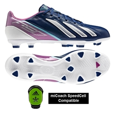Adidas F30 adizero (Leather) TRX FG Soccer Cleats (Dark Blue/Running White/Vivid Pink)