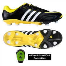 Adidas adiPure 11Pro TRX FG Soccer Cleats (Black/Running White/Vivid Yellow)