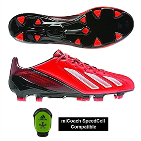 Adidas Soccer Cleats |FREE SHIPPING| Adidas Q33845| Adidas F50 adizero (Leather) TRX FG Soccer Cleats (Infrared/Running White/Black) |