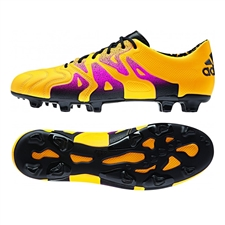 Adidas X 15.1 (Leather) FG/AG Soccer Cleats (Solar Gold/Black/Shock Pink)