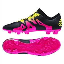 Adidas X 15.2 FG/AG Soccer Cleats (Black/Shock Pink/Solar Gold)