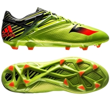 Adidas Messi 15.1 FG/AG Soccer Cleats (Semi Solar Slime/Solar Red/Black)