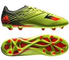 Adidas Messi 15.3 FG/AG Soccer Cleats (Semi Solar Slime/Solar Red/Black)