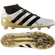 Adidas ACE 16.1 Primeknit FG Soccer Cleats (White/Black/Gold Metallic) | Adidas Soccer Cleats |FREE SHIPPING| Adidas S76474 | SoccerCorner.com