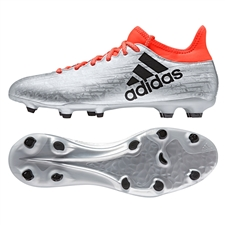 Adidas X 16.3 FG Soccer Cleats (Silver Metallic/Black/Solar Red)