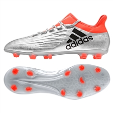 Adidas X 16.2 FG Soccer Cleats (Silver Metallic/Black/Solar Red)