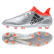 Adidas X 16.1 FG Soccer Cleats (Silver Metallic/Black/Solar Red)