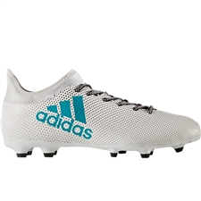 Adidas X 17.3 FG Soccer Cleats (White/Energy Blue/Clear Grey)