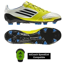 Adidas F50 adizero (Leather) TRX FG Soccer Cleats (Running White/Black/Lime))