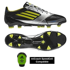 Adidas F50 adizero (Leather) TRX FG Soccer Cleats (Black/Lab Lime/Met Silver)