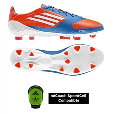 Adidas F50 adizero TRX FG Soccer Cleats (Infrared/Running White/Bright Blue)