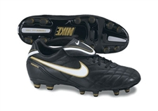 Nike Tiempo Mystic III Firm Ground Soccer Shoes (Black/White/MtlGold)