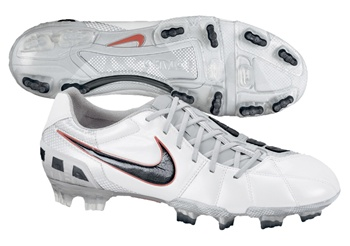 Nike Total90 Laser III K FG Soccer Cleats (Summit White/Black/Metallic Silver/Crimson)