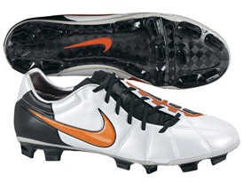 Nike Total90 Laser Elite Firm Ground Soccer Cleats (Platinum/Orange Blaze/Black)