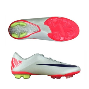 Nike Mercurial Miracle II FG Soccer Cleats (Granite/White/Solar Red/Imperial Purple)