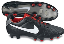 Nike Tiempo Legend IV FG Soccer Cleats (Black/Challenge Red/White)