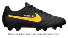 Nike Tiempo Legend IV FG CUSTOM Soccer Cleats (Dark Charcoal/Black/Laser Orange)