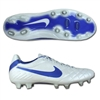 Nike Tiempo Legend IV FG Soccer Cleats (White/Metallic Silver/Treasure Blue)