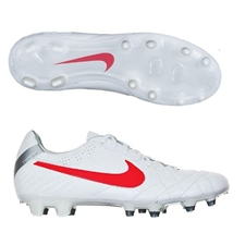 Nike Tiempo Legend IV FG Soccer Cleats (White/Metallic Silver/Siren Red)