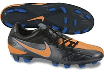 Nike T90 Strike IV FG Soccer Cleats (Black/Blue Glow/Total Orange)