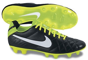 Nike Tiempo Natural IV LTR FG Soccer Cleats (Black/Electric Green/White)