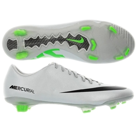 Nike Mercurial Veloce FG Soccer Cleats (Metallic Platinum/Electric Green/Black)