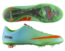 Nike Mercurial Vapor IX Soccer Cleats (Neo Lime/Metallic Silver/Polarized Blue/Total Crimson)