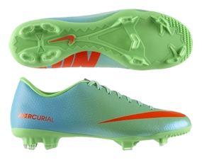 Nike Mercurial Victory IV FG Soccer Cleats (Neo Lime/Metallic Silver/Polarized Blue/Total Crimson)