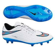 Nike Hypervenom Phantom FG Soccer Cleats (White/Total Crimson/Blue Lagoon)