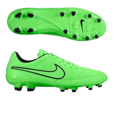 Nike Tiempo Genio Leather FG Soccer Cleats (Green Strike/Black)