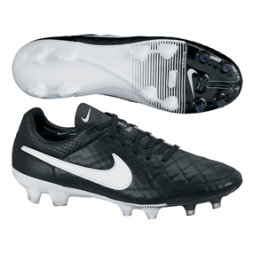 Nike Tiempo Legend V FG Soccer Cleats (Black/White)