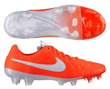 Nike Tiempo Legend V FG Soccer Cleats (Total Crimson/White/Metallic Silver)
