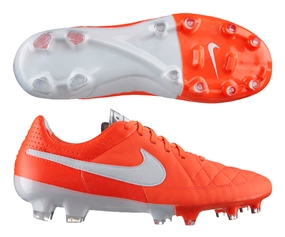 Nike Tiempo Legacy FG Soccer Cleats (Total Crimson/White/Metallic Silver)