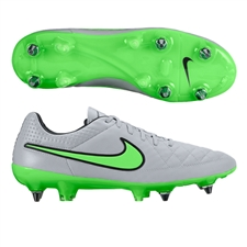 Nike Tiempo Legend V SG-PRO Soccer Cleats (Wolf Grey/Black/Green Strike)