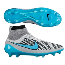 Nike Magista Obra FG Soccer Cleats (Wolf Grey/Black/Turquoise Blue)