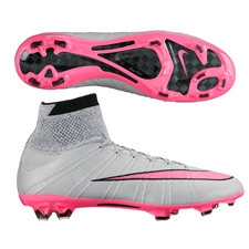 Nike Mercurial SuperFly IV FG Soccer Cleats (Wolf Grey/Black/Hyper Pink)