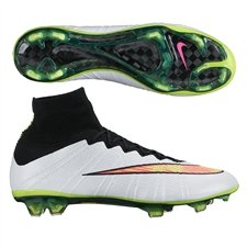 Nike Mercurial SuperFly IV FG Soccer Cleats (White/Black/Hyper Pink/Volt)