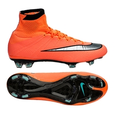 Nike Mercurial SuperFly IV FG Soccer Cleats (Bright Mango/Hyper Turquoise/Metallic Silver)
